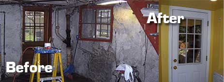 Before and after photos of basement remodel done in Washington DC in home on Wisconsin Avenue